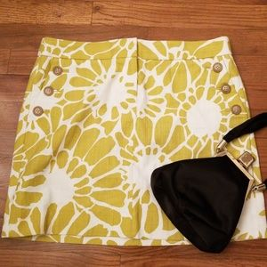 J. Crew Chartreuse And White Floral Skirt